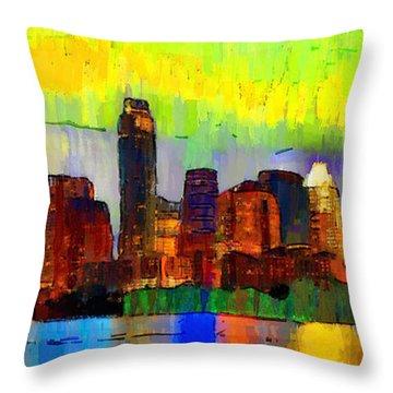 Austin Texas Skyline 212 - Pa Throw Pillow