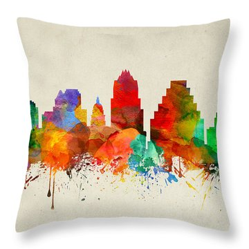 Austin Texas Skyline 22 Throw Pillow by Aged Pixel