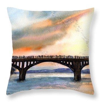 Austin, Tx Congress Bridge Bats Throw Pillow