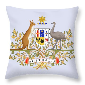 Throw Pillow featuring the drawing Australia Coat Of Arms by Movie Poster Prints