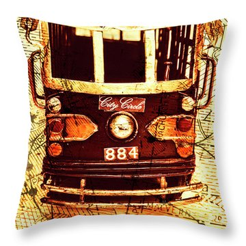 Australia Travel Tram Map Throw Pillow
