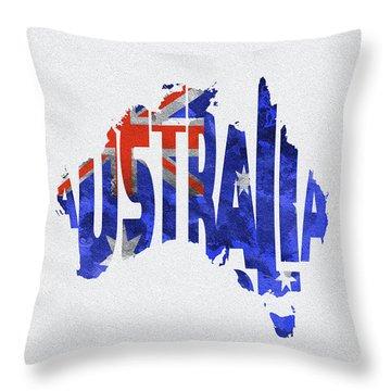 Australia Typographic World Map Throw Pillow