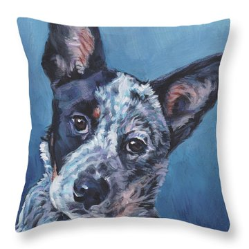 Throw Pillow featuring the painting Australian Cattle Dog by Lee Ann Shepard