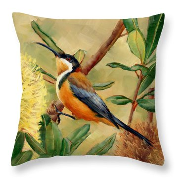 Australian Eastern Spinebill  Throw Pillow