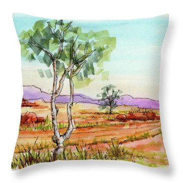 Australian Landscape Sketch Throw Pillow
