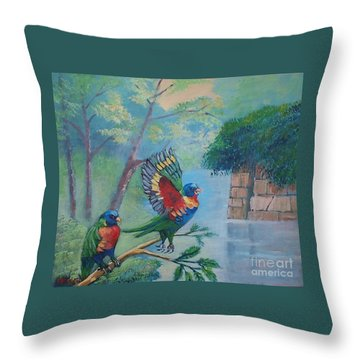 Australian Rainbow Parrots Throw Pillow