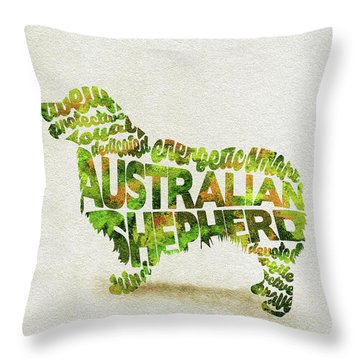 Throw Pillow featuring the painting Australian Shepherd Dog Watercolor Painting / Typographic Art by Ayse and Deniz