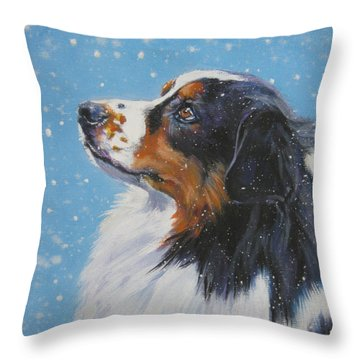 Australian Shepherd In Snow Throw Pillow by Lee Ann Shepard