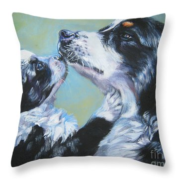 Australian Shepherd Mom And Pup Throw Pillow