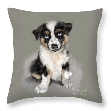 Throw Pillow featuring the painting Australian Shepherd Pup by Lora Serra