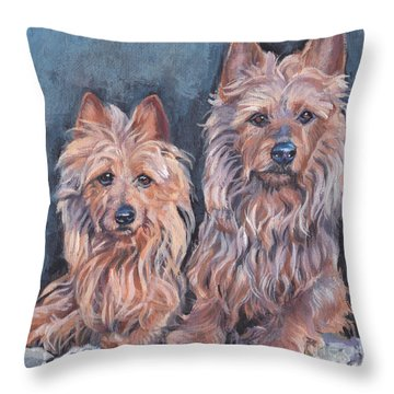 Throw Pillow featuring the painting Australian Terriers by Lee Ann Shepard