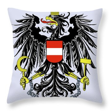 Throw Pillow featuring the drawing Austria Coat Of Arms by Movie Poster Prints