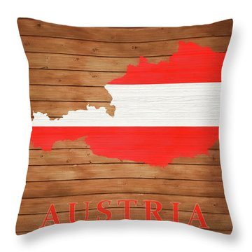 Austria Rustic Map On Wood Throw Pillow
