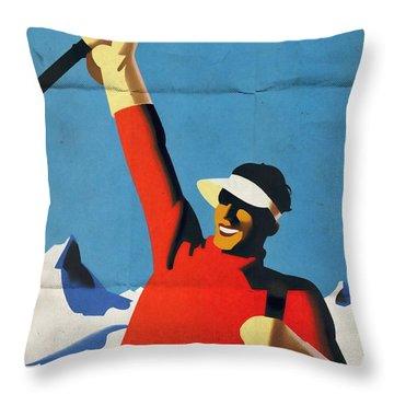 Austria Ski Tourism - Vintage Poster Folded Throw Pillow