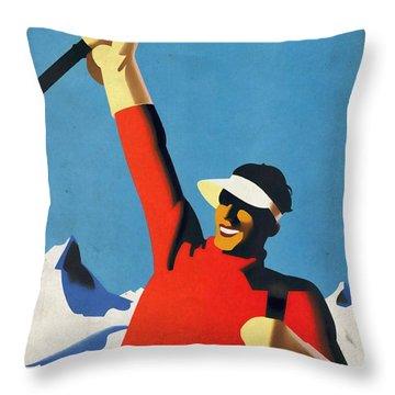 Austria Ski Tourism - Vintage Poster Vintagelized Throw Pillow