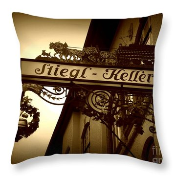Austrian Beer Cellar Sign Throw Pillow by Carol Groenen