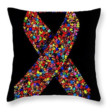 Autism Awareness Ribbon  Throw Pillow
