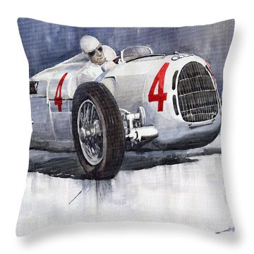 Auto Union C Type 1937 Monaco Gp Hans Stuck Throw Pillow by Yuriy  Shevchuk