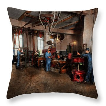 Throw Pillow featuring the photograph Autobody - The Bodyshop 1916 by Mike Savad