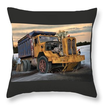 Throw Pillow featuring the digital art Autocar Dumptruck by Stuart Swartz