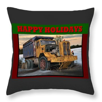 Throw Pillow featuring the digital art Autocar Happy Holidays by Stuart Swartz