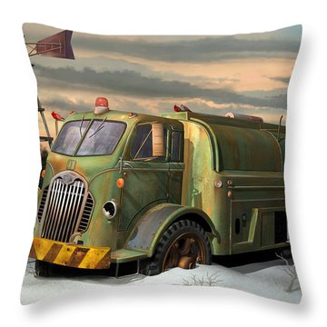 Throw Pillow featuring the digital art Autocar Waterwagon by Stuart Swartz