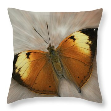 Autumn Leaf Butterfly Zoom Throw Pillow