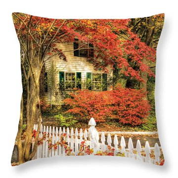Autumn - House - Festive  Throw Pillow by Mike Savad