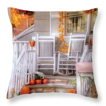 Autumn - House - My Aunts Porch Throw Pillow by Mike Savad