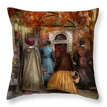 Autumn - People - A Walk Downtown  Throw Pillow by Mike Savad