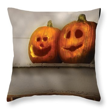 Autumn - Pumpkins - Two Goofy Pumpkins Throw Pillow by Mike Savad