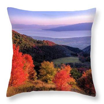 Autumn Above Utah Lake Throw Pillow