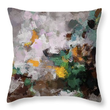 Throw Pillow featuring the painting Autumn Abstract Painting by Ayse Deniz