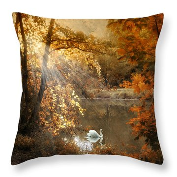 Throw Pillow featuring the photograph Autumn Afterglow by Jessica Jenney