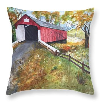 Autumn Afternoon At Knechts Covered Bridge Throw Pillow