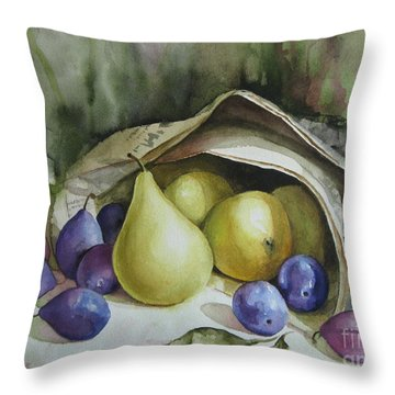 Throw Pillow featuring the painting Autumn Again by Elena Oleniuc
