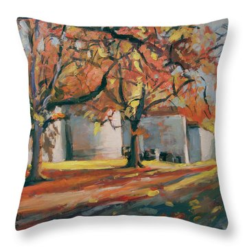 Autumn Along Maastricht City Wall Throw Pillow