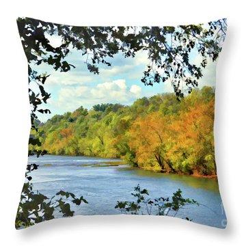 Autumn Along The New River - Bisset Park - Radford Virginia Throw Pillow