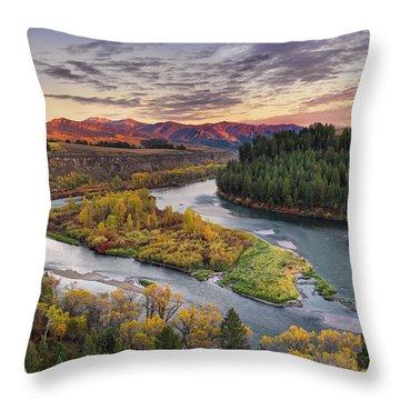 Autumn Along The Snake River Throw Pillow