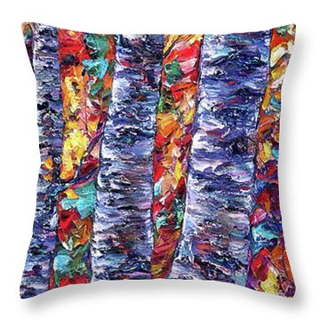 Autumn  Aspen Trees Contemporary Painting  Throw Pillow