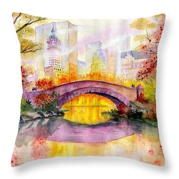 Autumn At Gapstow Bridge Central Park Throw Pillow