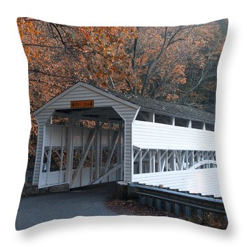 Autumn At Knox Covered Bridge In Valley Forge Throw Pillow