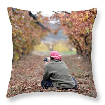 Throw Pillow featuring the photograph Autumn At Lachish Vineyards 1 by Dubi Roman