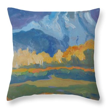 Throw Pillow featuring the painting Autumn At Mt. Moran by Francine Frank