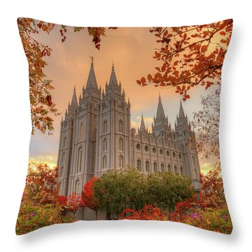 Throw Pillow featuring the photograph Autumn At Temple Square by Dustin  LeFevre