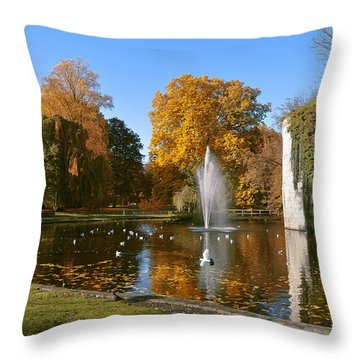 Autumn At The City Park Pond Maastricht Throw Pillow