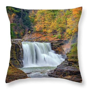 Autumn At The Lower Falls Throw Pillow by Rick Berk