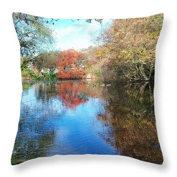 Autumn At The Park Throw Pillow