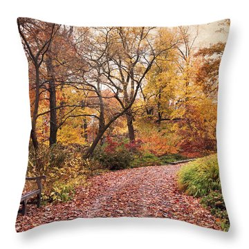 Autumn Azalea Garden Throw Pillow