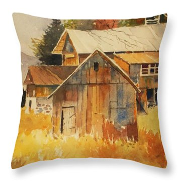 Autumn Barn And Sheds Throw Pillow by Al Brown